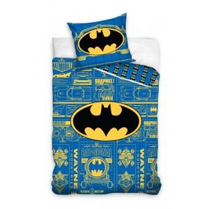 Modré detské bavlnené posteľné obliečky BATMAN