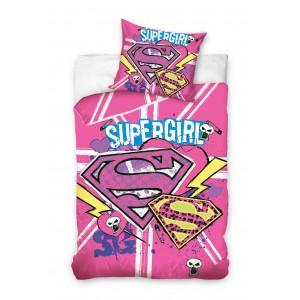 Ružová detská posteľná obliečka Supergirl