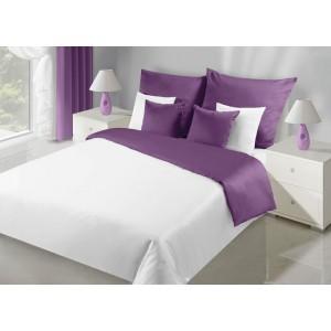 Kvalitné obojstranné posteľné obliečky v bielo fialovej farbe