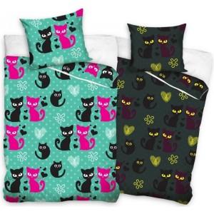 Zelené detské bavlnené posteľné návliečky s mačičkami svietiace v tme