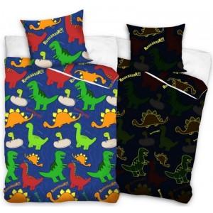 Farebná detská posteľná obliečka s dinosaurami žiariaca v tme