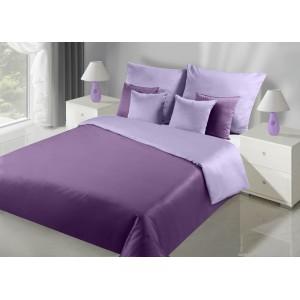 Dvojfarebné obojstranné posteľné obliečky fialovej farby