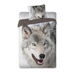 Sivé detské posteľné obliečky s vlkom