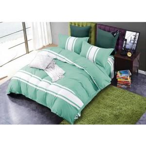 Zelená posteľná obliečka s bielými pásmi