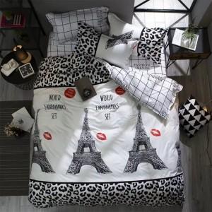 Posteľné obojstranné obliečky bielo čiernej farby s Eifellovou vežou