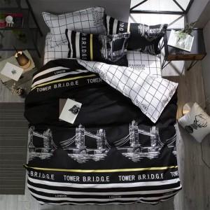 Čierno biele obojstranné obliečky na posteľ so žltými pásmi Tower Bridge