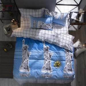 Modro biele obojstranné posteľne obliečky s motívom sochy slobody