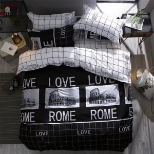 Obojstranné posteľné obliečky v bielo čiernej farbe s potlačou