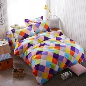Veselé farebné posteľné obliečky so štvorcami