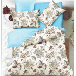 Krémovo tyrkysové obojstranné posteľné obliečky s hnedými kvetmi