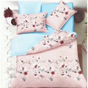 Posteľné obojstranné obliečky v tyrkysovo ružovej farbe s kvetmi
