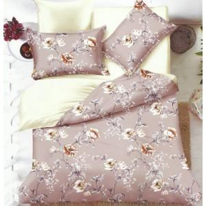 Obojstranná posteľná obliečka v béžovo krémovej farbe s kvetínovým vzorom