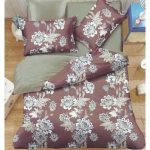 Obojstranné posteľné obliečky v béžovo sivej farbe s kvetinami