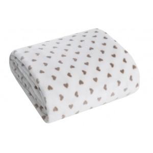 Teplá deka krémovej farby so srdiečkami