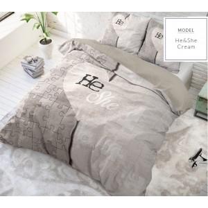 Krémovo béžové posteľné obliečky s motívom puzzle pre páry