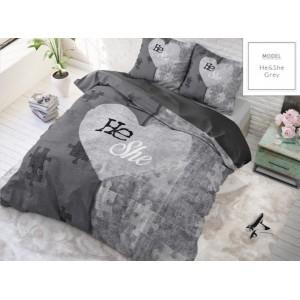 Sivé posteľné obliečky pre páry so srdiečkom