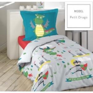 Detské posteľné obliečky sivej farby s motívom dráčika a rytiera