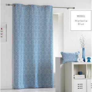 Dekoračné závesy v škandinávskom štýle modrej farby