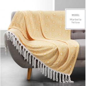 Žiarivá žltá deka  so strapcami