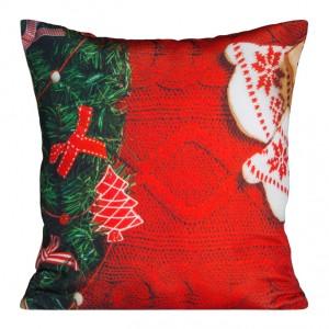 Červená dekoračná obliečka na vankúš s vianočným motívom