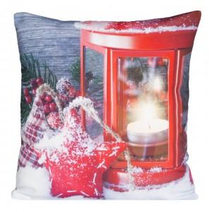 Vianočné dekoračné obliečky s červeným lampášikom a sviečkou