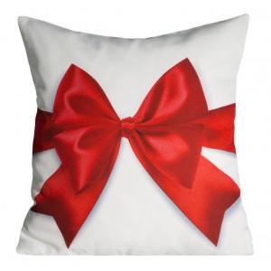 Jemná vianočná dekoračná obliečka na vankúš v bielej farbe s červenou mašľou