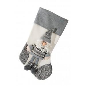 Krásna dekoračná vianočná čižma v bielo sivej farbe
