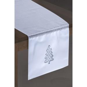 Vianočný dekoračný obrus v strieborno bielej farbe s vianočným stromčekom