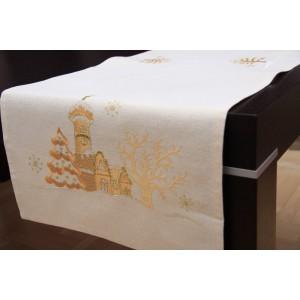 Štóla s vianočnými motívmi na stôl v zlatej farbe