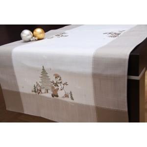 Kvalitné dekoračné behúne na stôl v béžovej farbe s bielými snehuliakmi