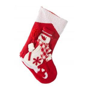 Červená vianočná dekoračná čižma s bielym snehuliakom