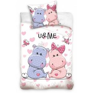 U & ME detské posteľné obliečky bielej farby so srdiečkami
