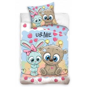 Biele posteľné obliečky pre deti s motívom medvedíka a zajačika