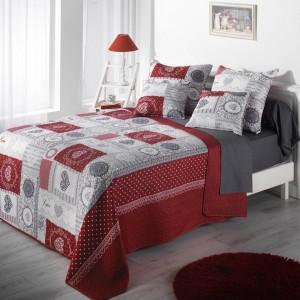 Romantický sivo červený prehoz na manželskú posteľ