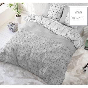 Sivé posteľné obliečky s geometrickými vzormi
