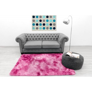 Hebký ombre plyšový koberec ružovej farby
