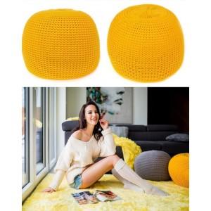 Moderná taburetka žltej farby s výplňou