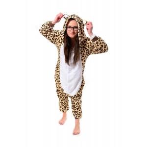 Moderné pyžamové overaly kigurumi s motívom leoparda