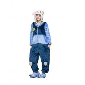 Modrý kigurumi overal s motívom králika