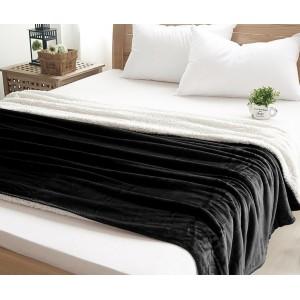 Čierna luxusná deka s kožušinkou