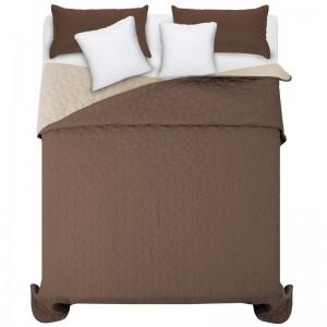 Obojstranný prehoz na manželskú posteľ hnedej farby