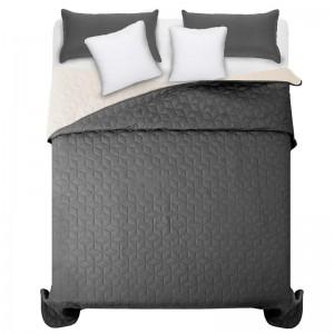 Kvalitné tmavo sivé prehozy na manželskú posteľ so vzorom diamantu