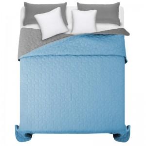 Obojstranné modro sivé prehozy na manželskú posteľ