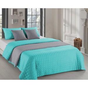 Mentolovo sivé obojstranné prehozy na posteľ s prešívaním