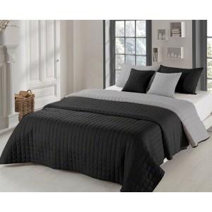 Obojstranné prehozy na posteľ čiernej farby so vzorom