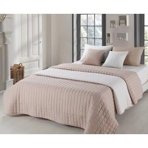 Prešívané prehozy na manželskú posteľ obojstranné béžové