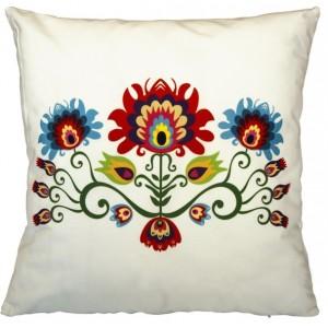 Krémová obliečka na vankúš s motívom kvetov