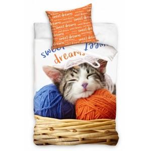Biela detská posteľná obliečka s mačkou