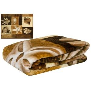 Hnedý prehoz na gauč s motívom mušlí