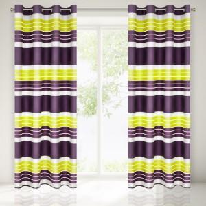 Moderný fialovo žltý záves do izby